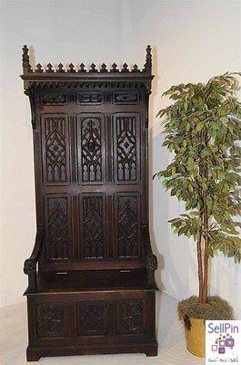$2,950.00: Antique French  Bench, Gothic Throne Chair, 19th Century, Under seat Storage