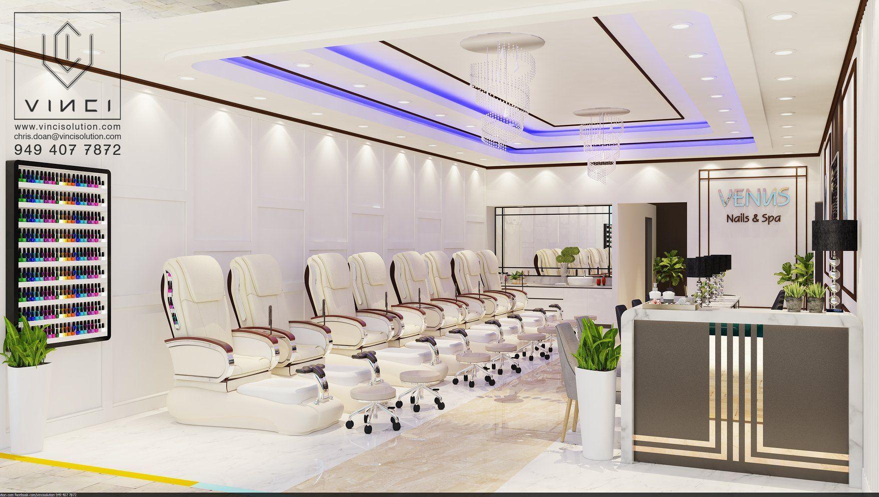 VINCI is a leader company in design & build nails salon in the USA. Most beautiful & luxury nail salon design. Luxurious colors, Cozy interior, Unique design, Impressive, Beautiful. #interiorbusiness #naildesign #salondecor #nailsalondesign #nailsaloninterior #nailsalondecor #beautysalondesign #saloncolor #nailsaloninteriordesign #topnailssalondesigninusa #bestnailsalondesign #luxurynailssalon #nailsalondesigninusa #beautifulnailssalon #modernnailsalon