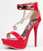 #Qupid DAZZLING-104 Skull Chain Metal Ankle Strap Platform #High Heel Stiletto