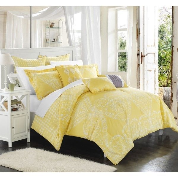 Chic Home Perugia Yellow 8 Piece Comforter Set Oversized Reversible Bright Soft Chichome Casualcontemporary Comforter Sets Yellow Bedding Quilt Sets