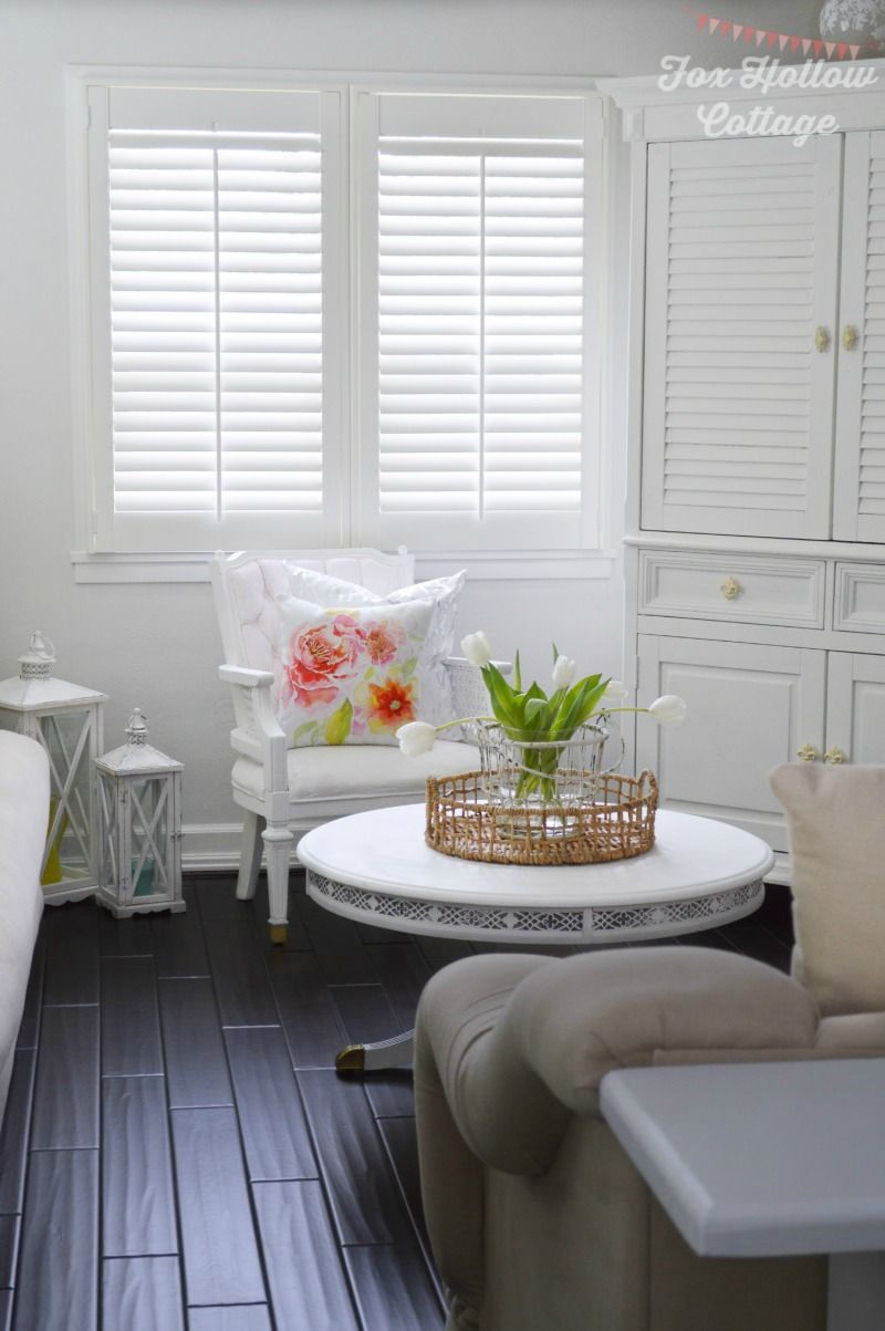 Our cottage home and new plantation shutters from blinds diy 1920s cottage home diy wood floors shutter install painted furniture budget solutioingenieria Image collections
