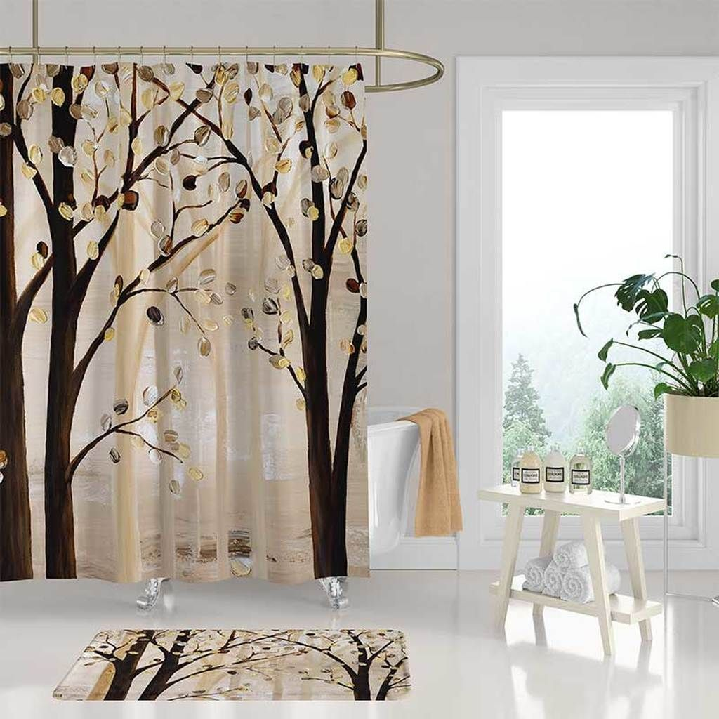 Brown And Beige Art Shower Curtain And Bath Mat With Trees Tree