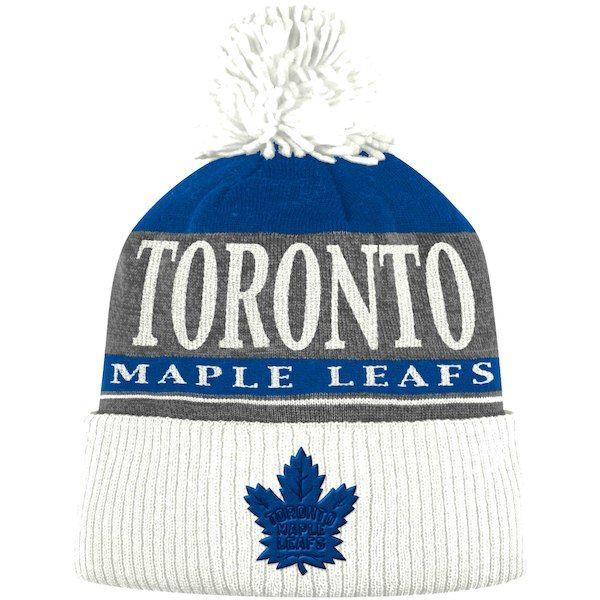 0f7ee9bd233 Men s Toronto Maple Leafs adidas Heathered Gray White Cuffed Pom - Knit Hat