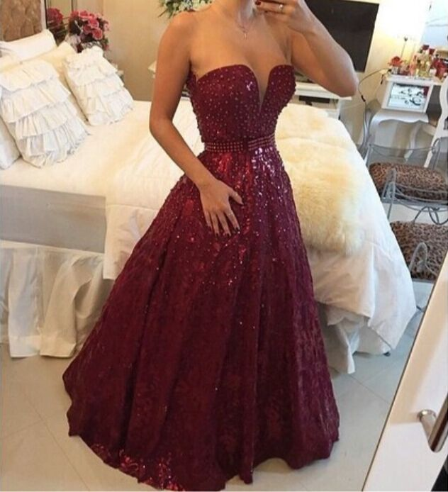 Fashion Wine Red Lace Beaded Prom Dress With Sequins Hot Sale eb4ab0d8ddc7