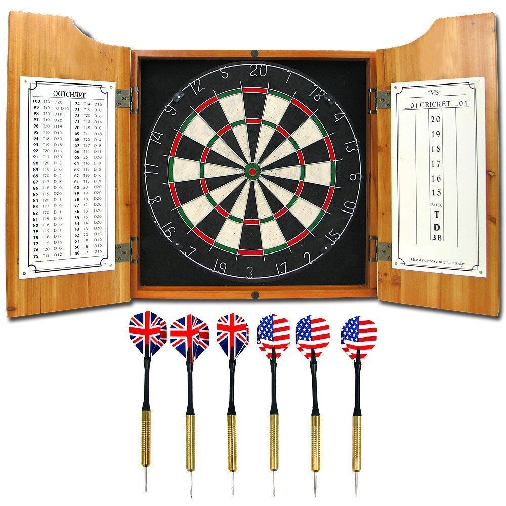 Solid Wood Dart Cabinet Set - Pro Style Board and Darts #TrademarkGames