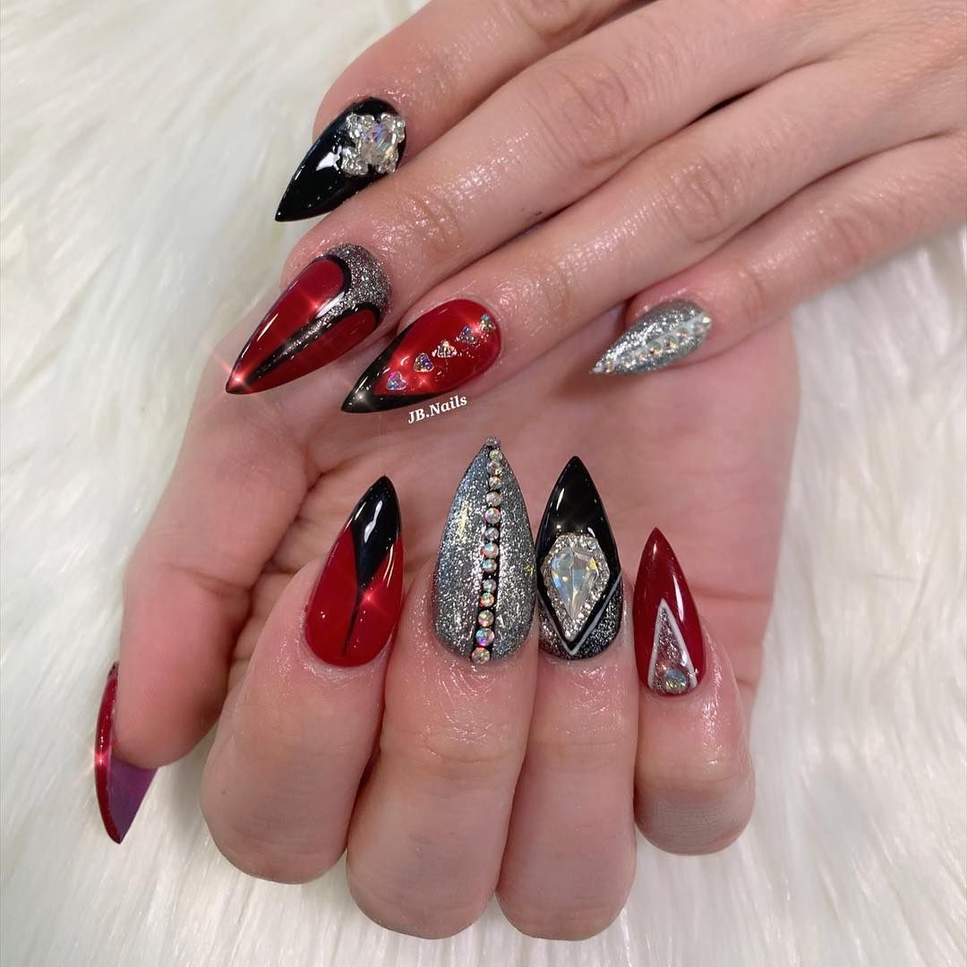 Acrylic Nails Stiletto Nails Claws Pointy Nails Red And Black