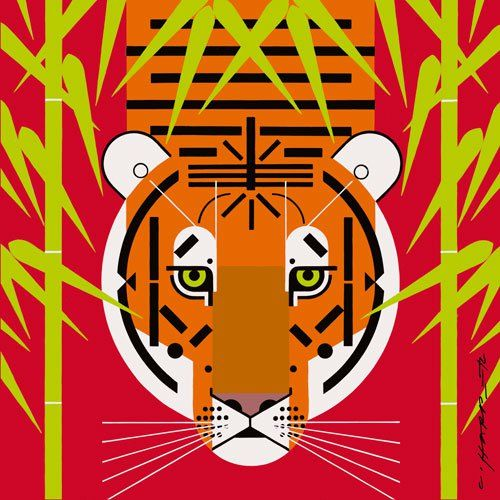 Asian Tiger stretched canvas print by Charley Harper