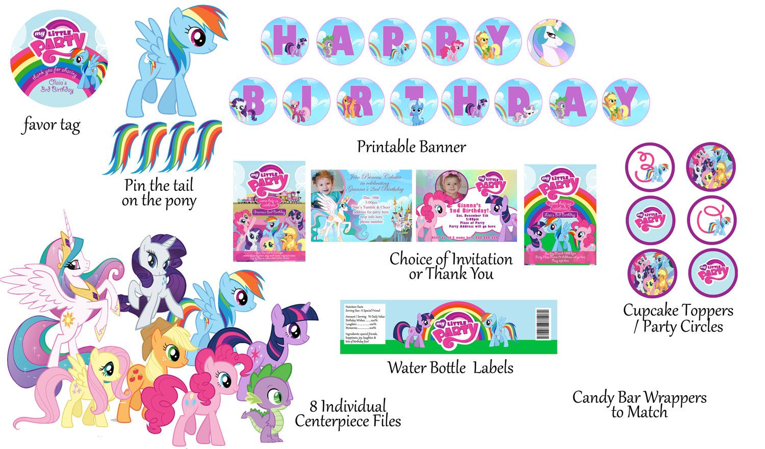 sale my little pony birthday package digital print as many as you need 1500