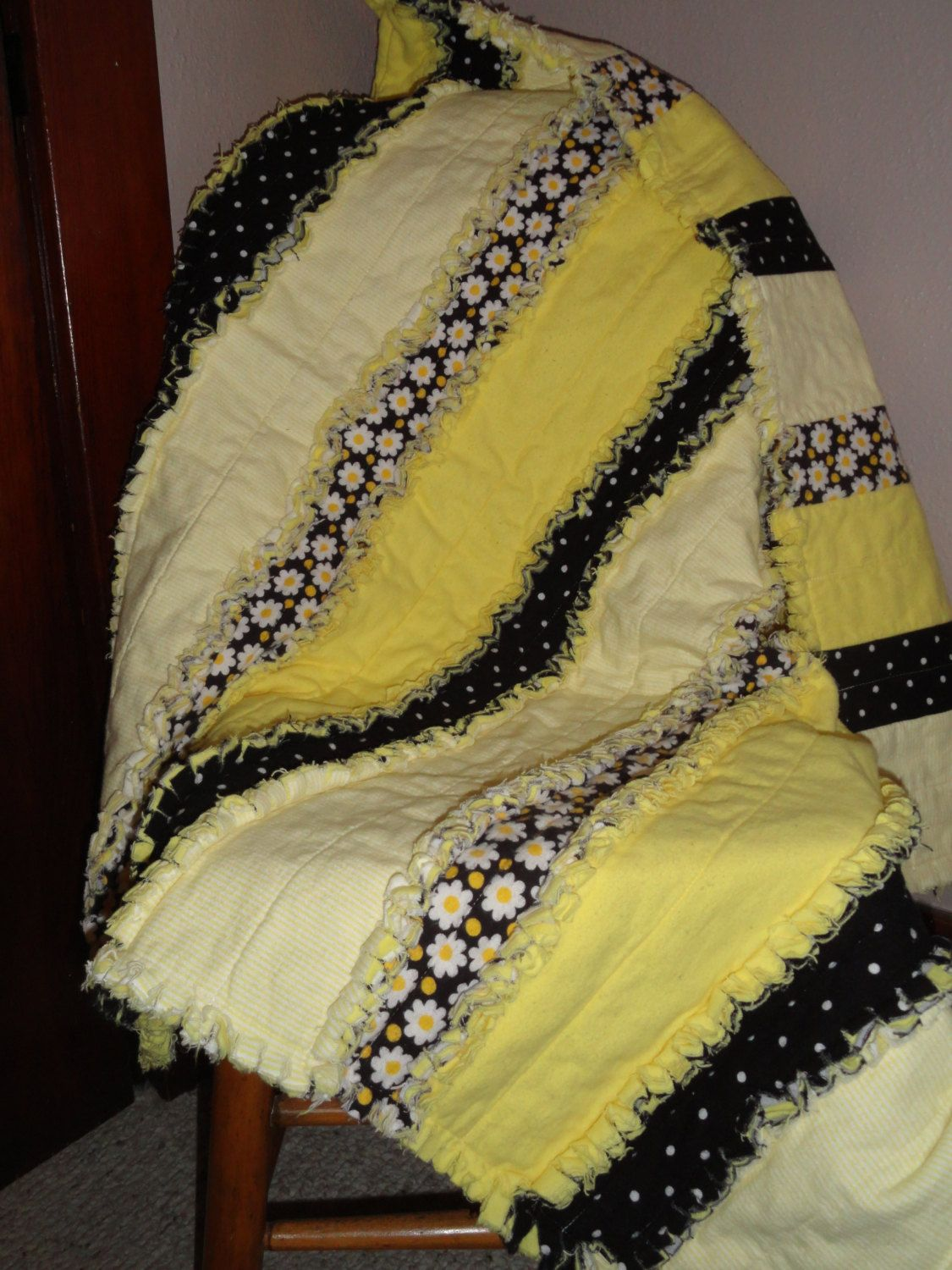 Daisies And Sunshine Yellow Flannel Baby Strip Rag Quilt