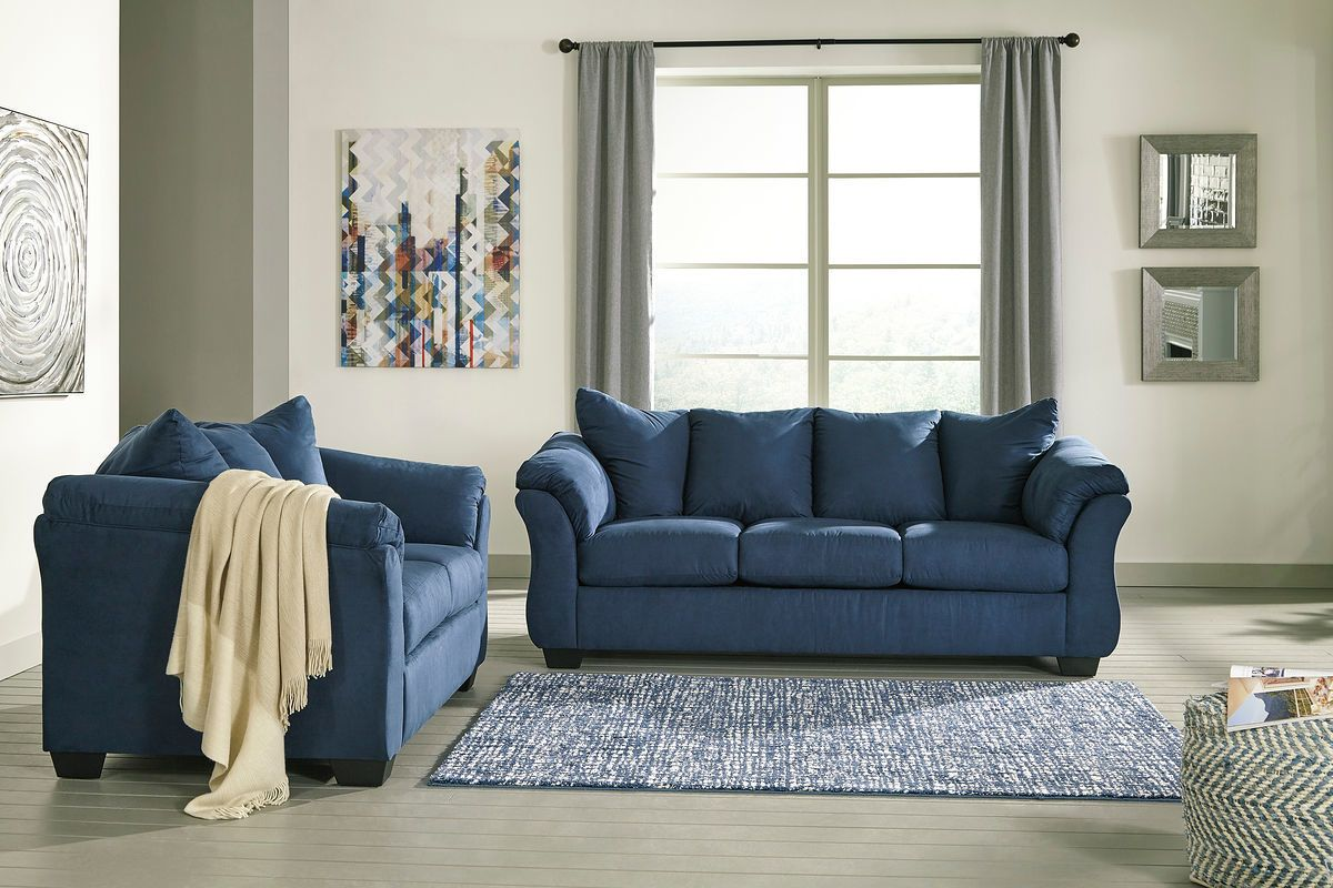 The Darcy Blue Sofa Loveseat At Wcc Furniture Mattress Center Serving Lafayette La And Surro Blue Living Room Sets Cheap Living Room Sets Blue Living Room