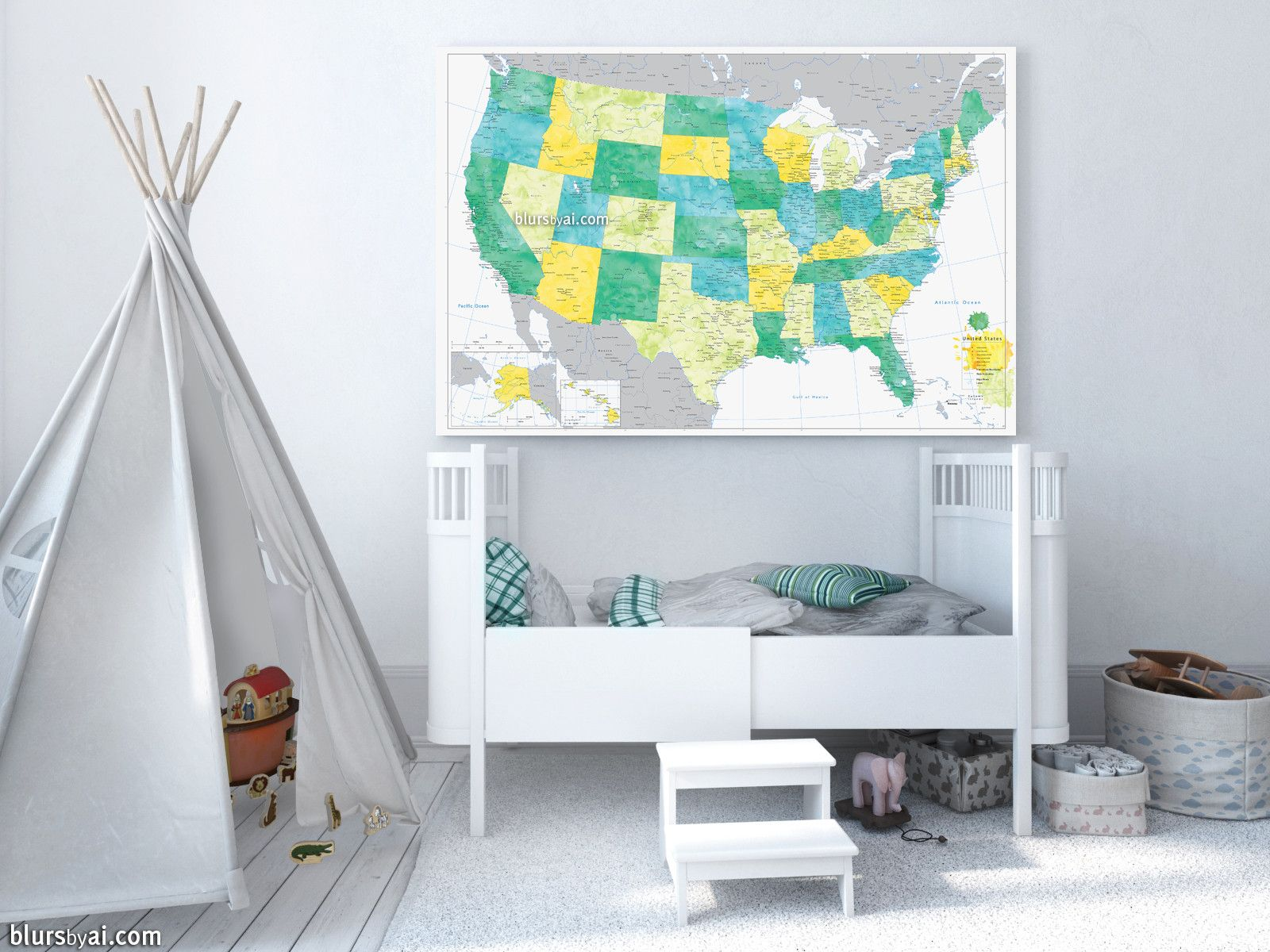Colorful large and detailed us map with cities canvas print or personalized world map canvas print or push pin map aquamarine and distressed gray world map with cities gumiabroncs Choice Image