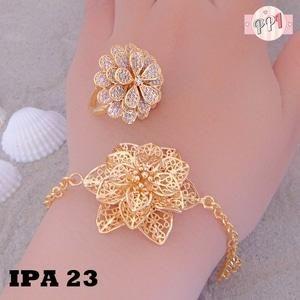 Set Perhiasan Lapis Emas Bunga Mawar Gold Xuping Pa23 Fast Respon Pin Bb 5f81c0e7 No Hp 081223335084 Bahan Dasar Temb Rose Gold Ring Floral Rings Rose Gold