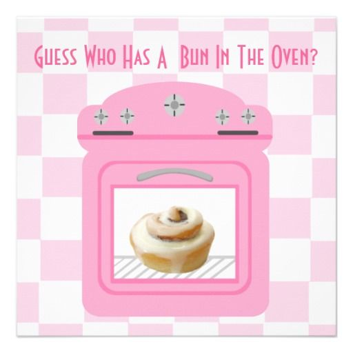 pink oven baby girl Congrats On Your Bun In The Oven baby greeting card new baby illustration