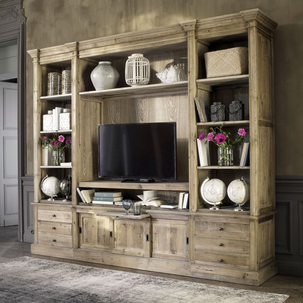 Libreria Porta Tv Maison Du Monde.Recycled Solid Pine Tv Unit Bookcase Living Room In 2019