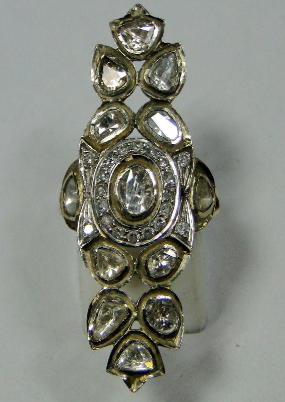 Vintage 18 K solid gold Diamond ring Long tribalexport