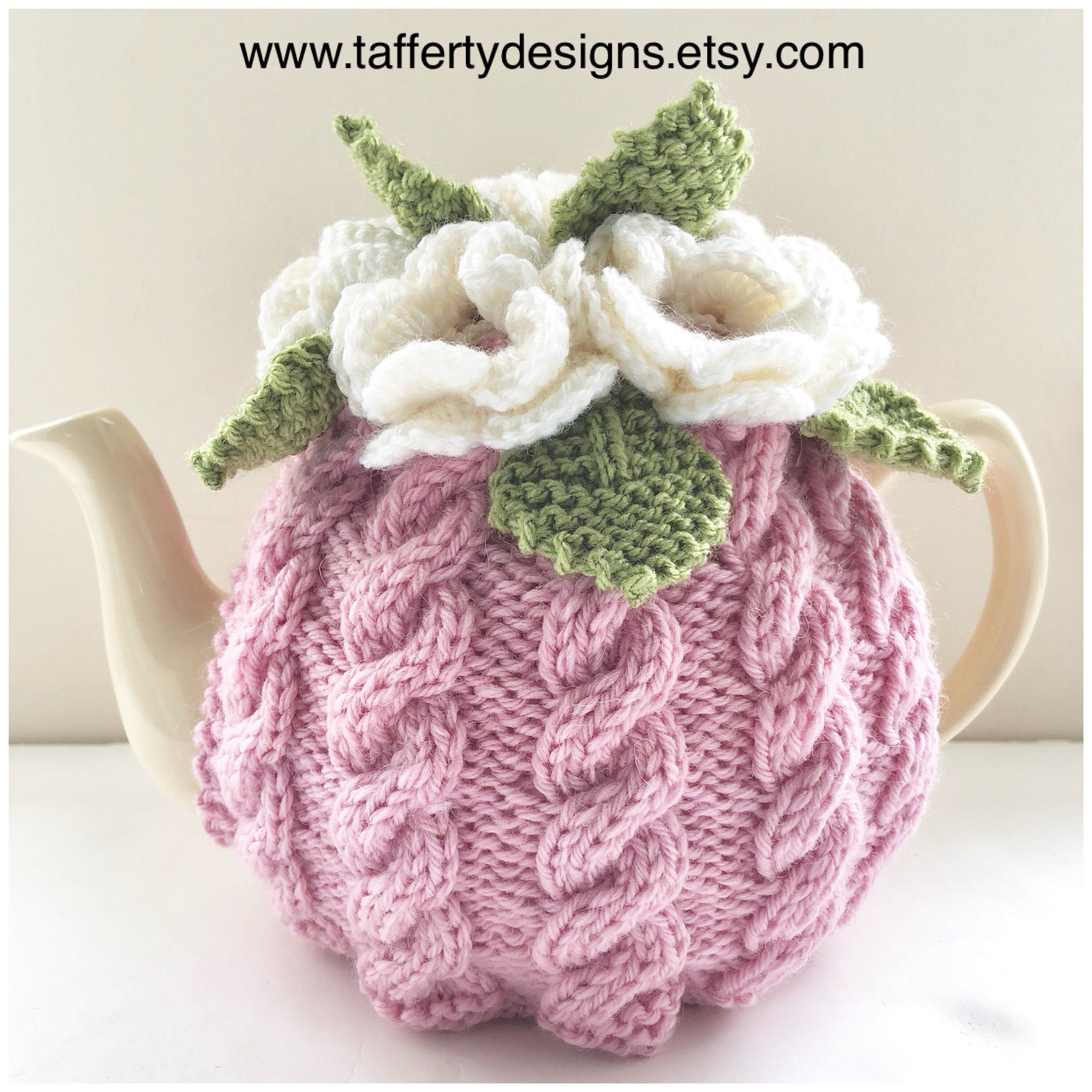 Floral Cabled Tea Cosy in Pure Wool - Pink & White - Size ...