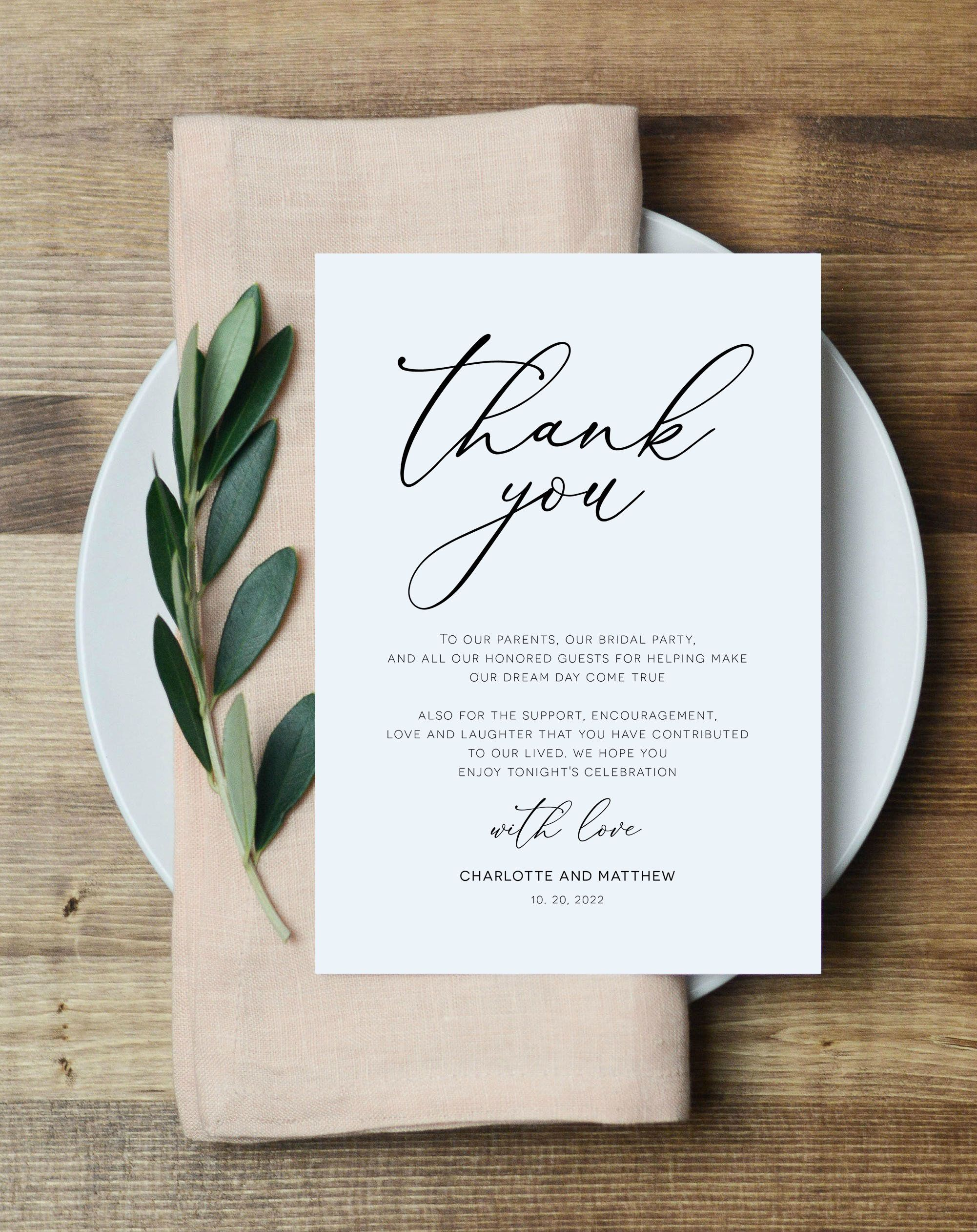 Script Wedding Thank You Note Printable Thank You Card Etsy In 2020 Wedding Thank You Thank You Card Template Printable Thank You Cards