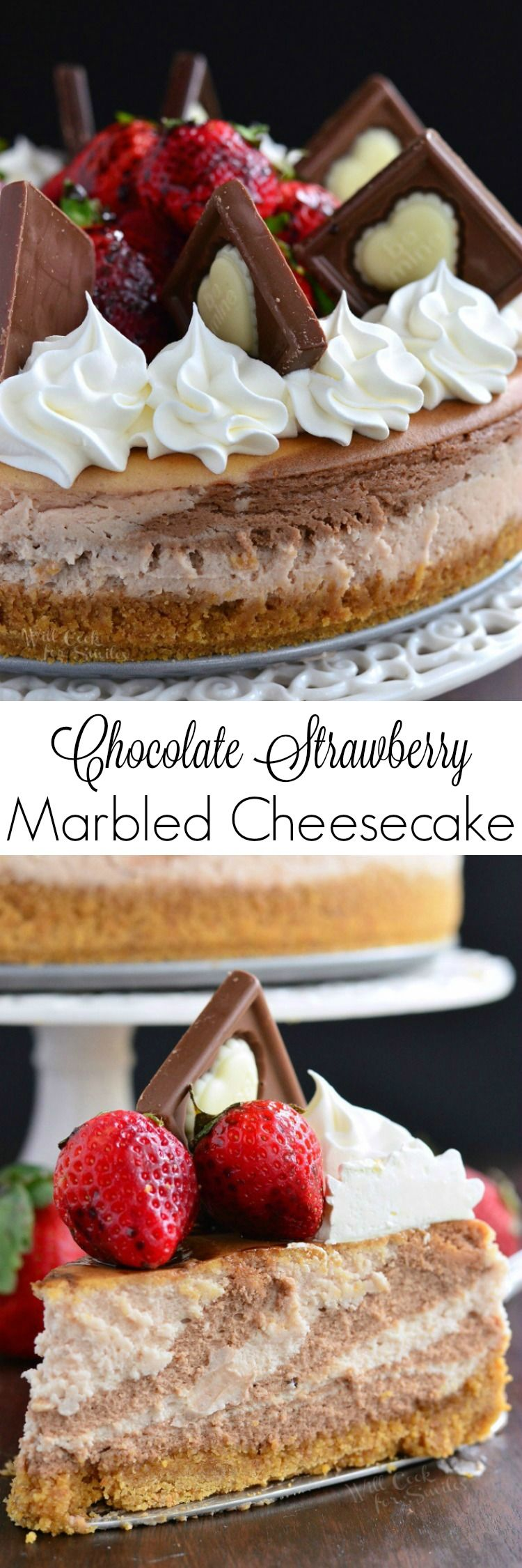Chocolate Strawberry Marbled Cheesecake. Smooth strawberry and chocolate cheesecake batters are easily layered to create a marbled cheesecake look.