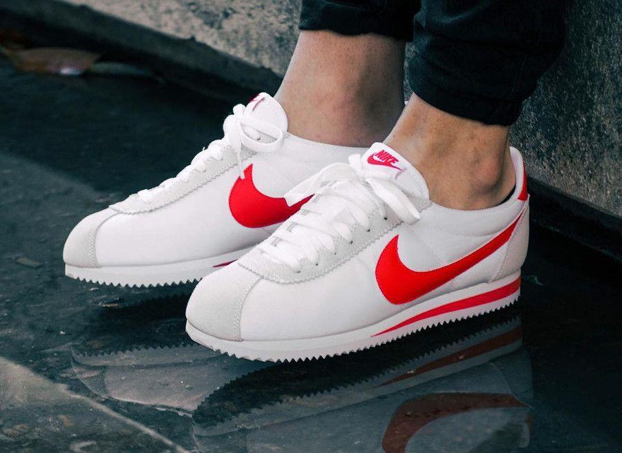 100% authentic 95cd1 5c026 Retrouvez nos avis sur la chaussure Nike Cortez Nylon Classic White  Habanero Red (prix