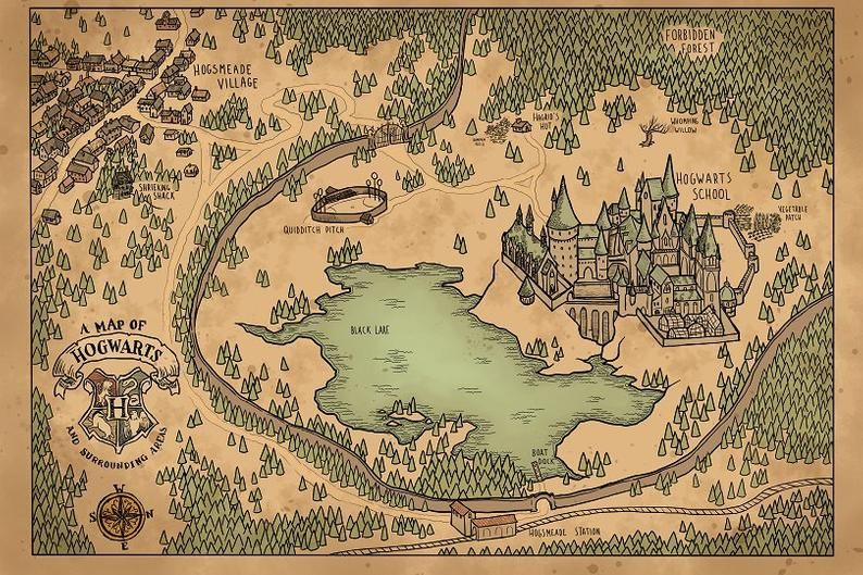 A Map of Hogwarts and Surrounding Areas | Harry Potter ... Unique World Map Showing Potion on