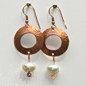 COOL EARRINGS Dapped, Dappled and Punched Playing with Copper and Pearls
