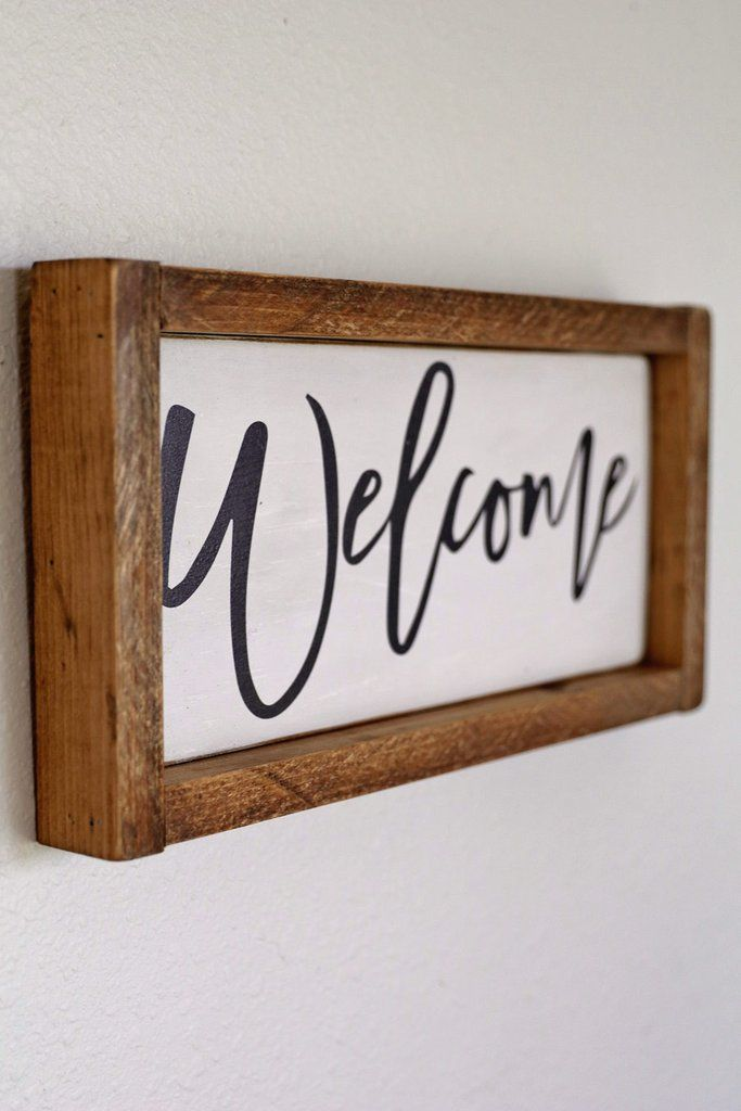 Antiqued Wooden Welcome Sign | home design | Pinterest | Vintage ...