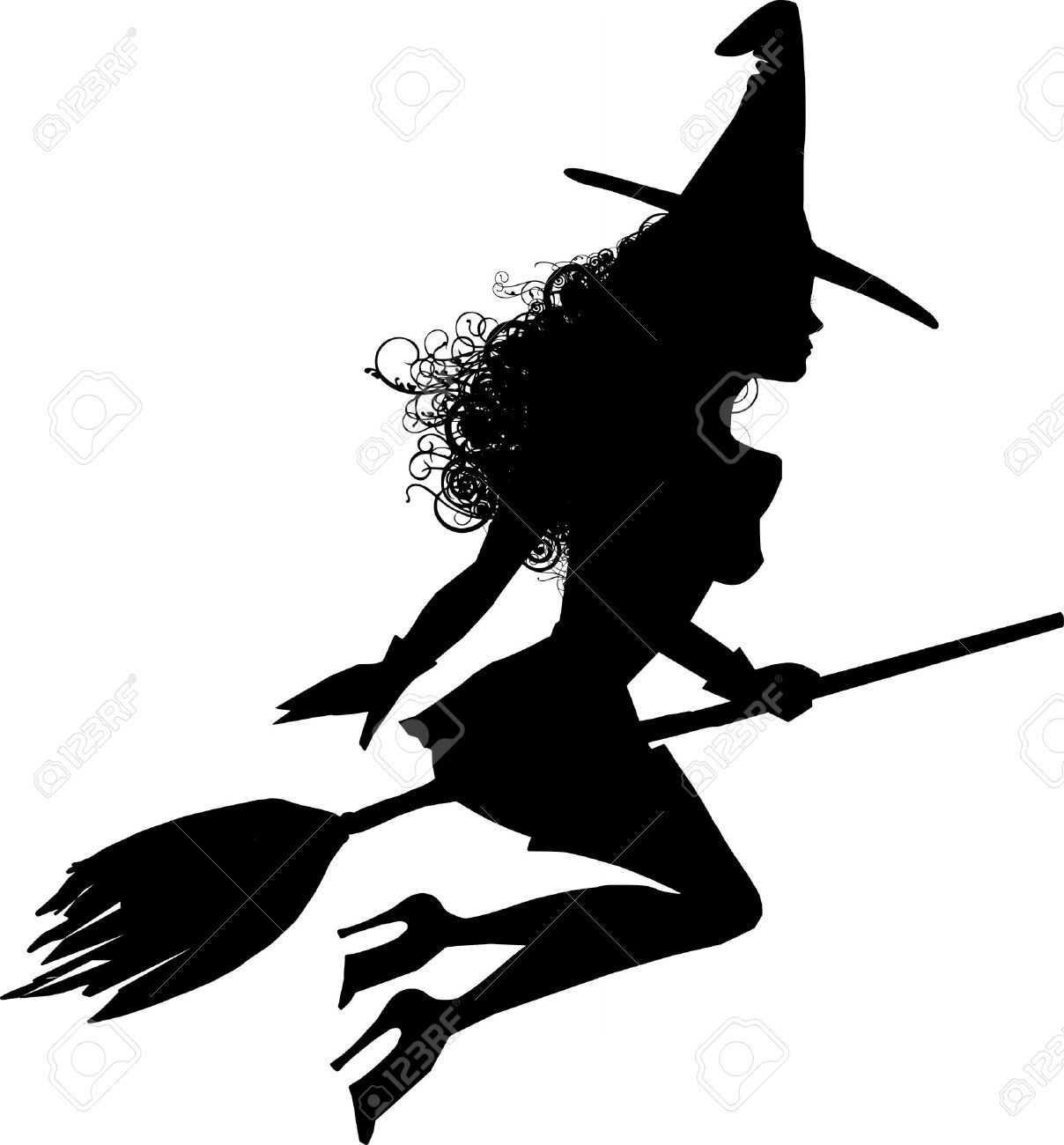 A Sensual Witch Silhouette Flying Stock Photo, Picture And Royalty ...