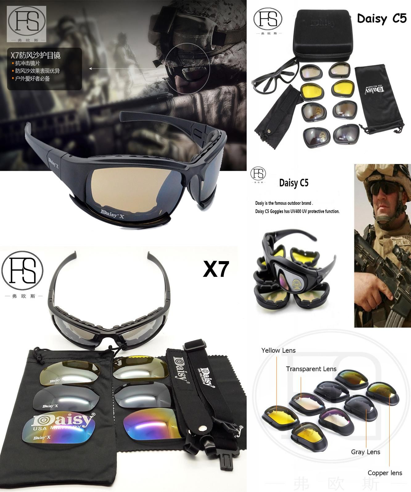 4ad310b441460  Visit to Buy  Popular Daisy X7 C5 Tactical Polarized Shooting Glasses Men  Outdoor Hunting Goggles 4 lenses Kit Hiking Cycling Eyewear  Advertisement