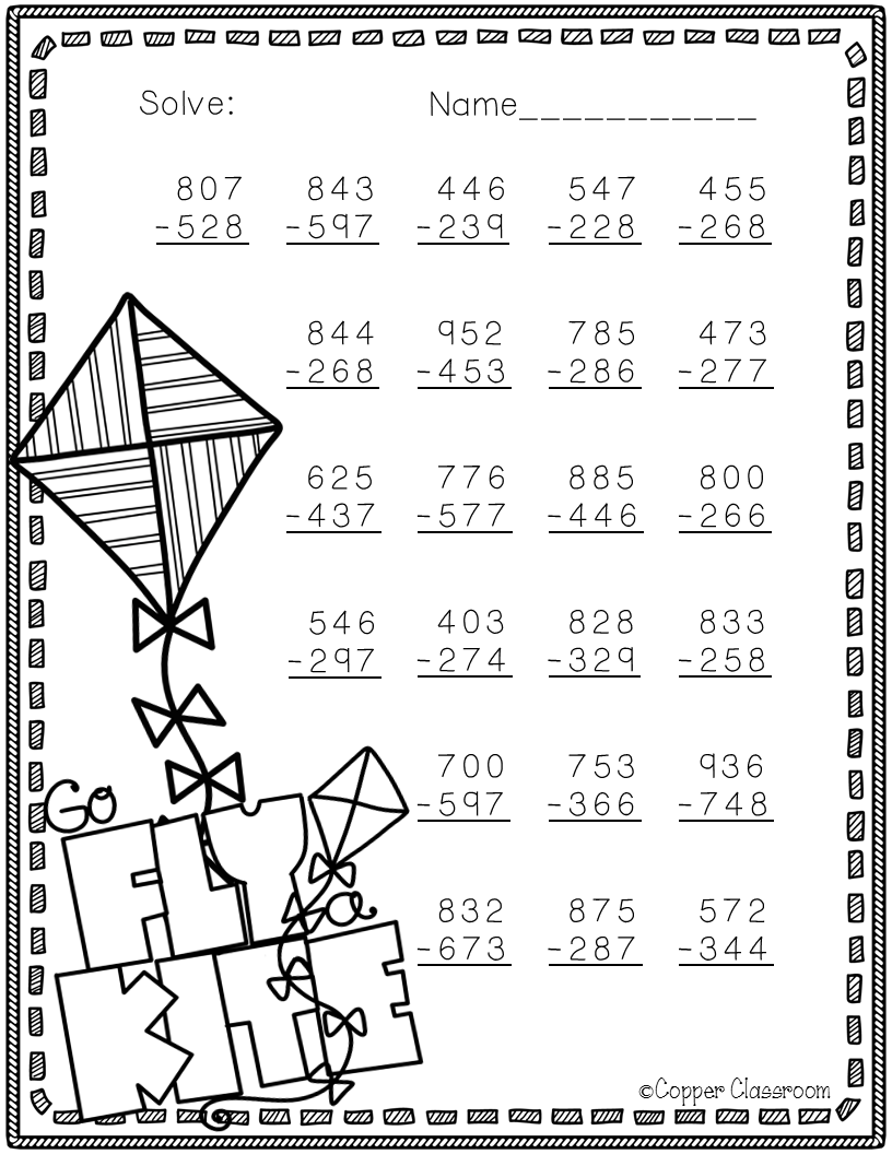 free 3 nbt 2 spring themed 3 digit subtraction with regrouping 3rd grade math 2nd grade math. Black Bedroom Furniture Sets. Home Design Ideas