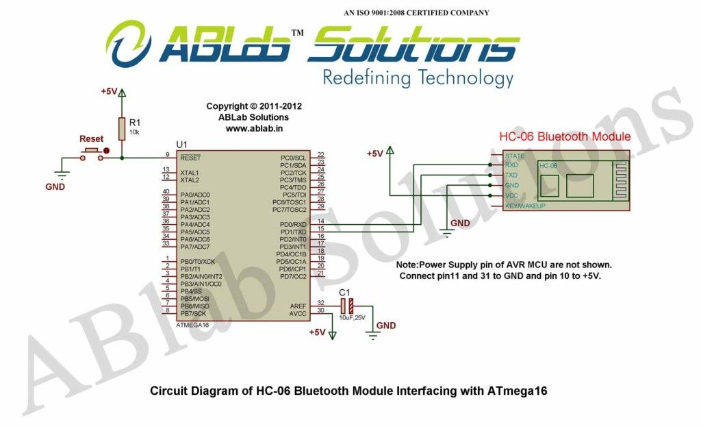 How To Interface A Hc 06 Bluetooth Module With Avr Atmega16 Microcontroller Microcontrollers Interface Circuit Diagram