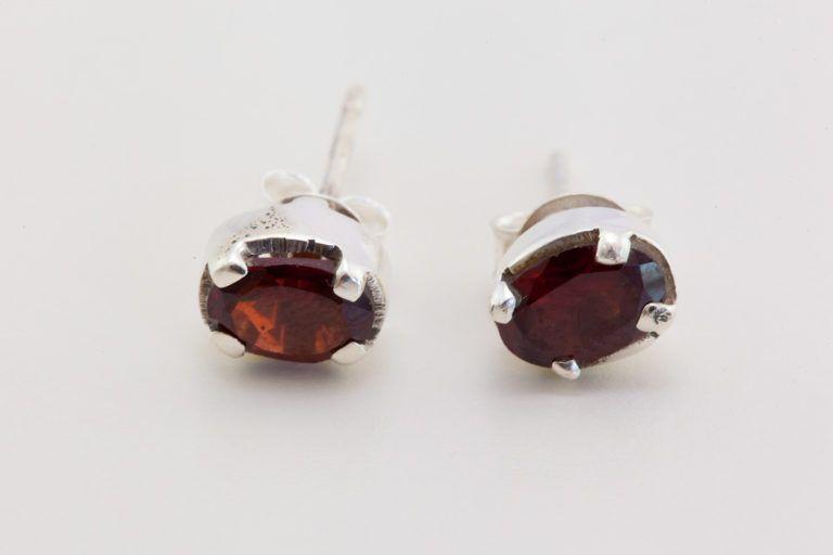 En argent 925 pierre grenat boucle d'oreille Set mode indienne bijoux