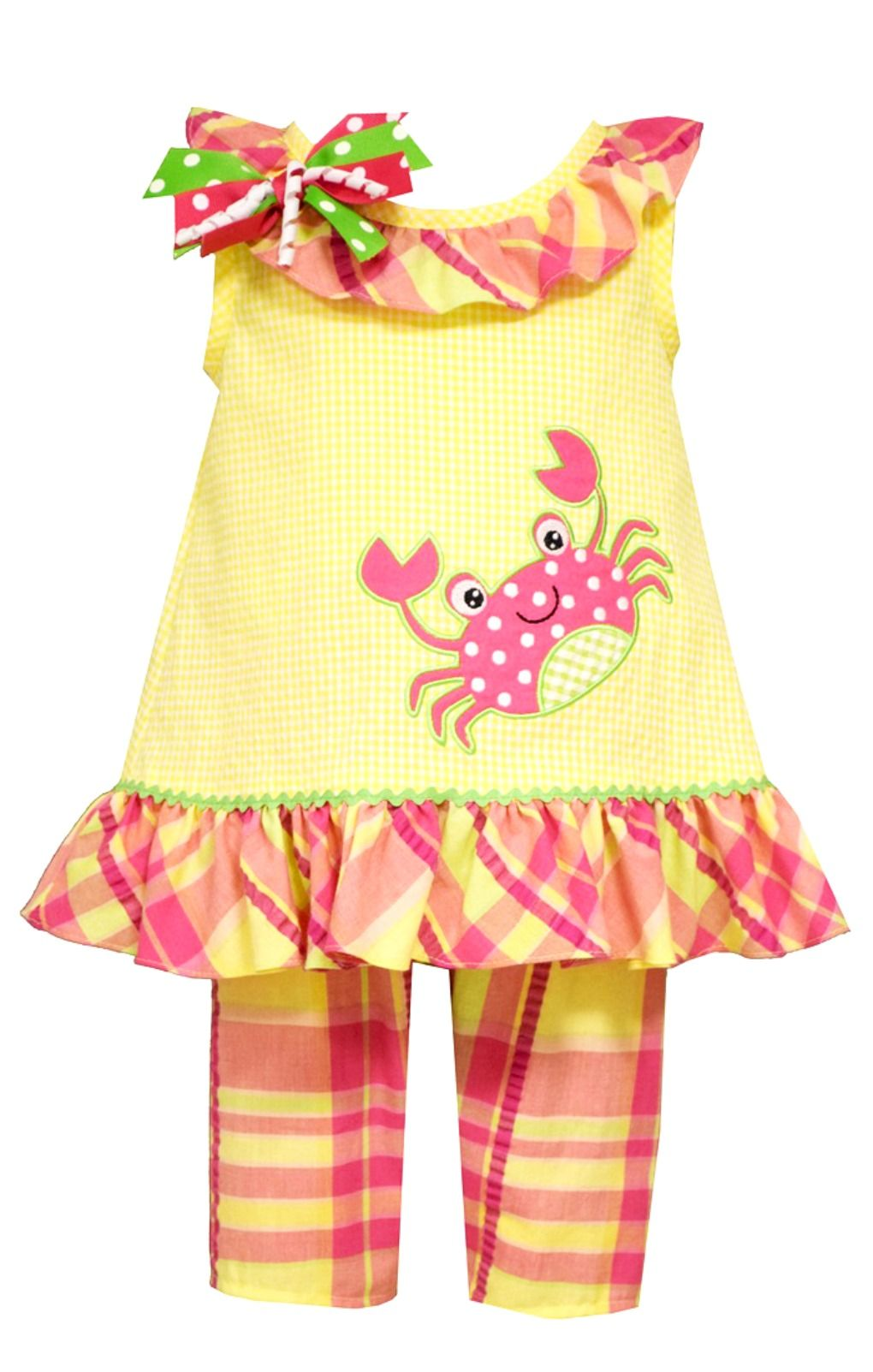 Bonnie Jean Little Girls Yellow Crab Capri Set