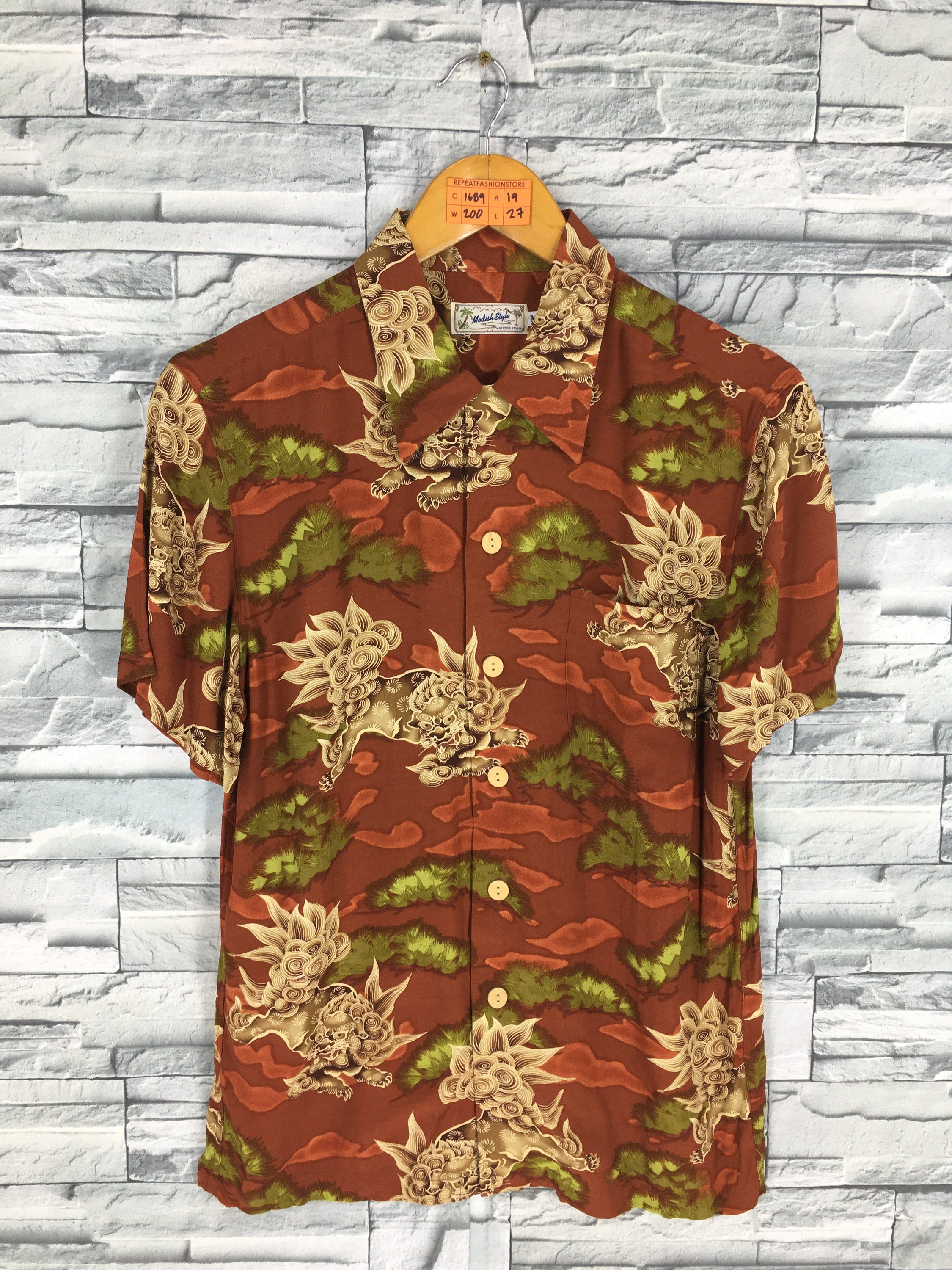 f3cda4496 HAWAIIAN DRAGON Shirt Buttondown Vintage Dragon Raijin Japanese Sukajan Style  Hawaii Surf Aloha Button Up Rayon