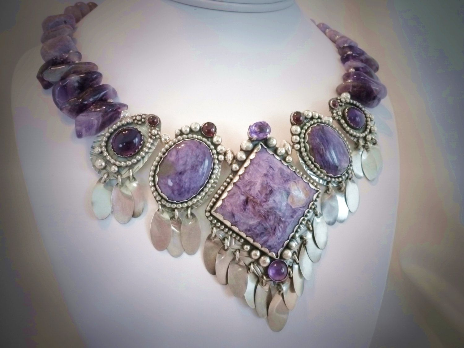 Charoite, Amethyst and Garnet Silver Necklace by PKDesignerJewelry on Etsy https://www.etsy.com/listing/150351204/charoite-amethyst-and-garnet-silver