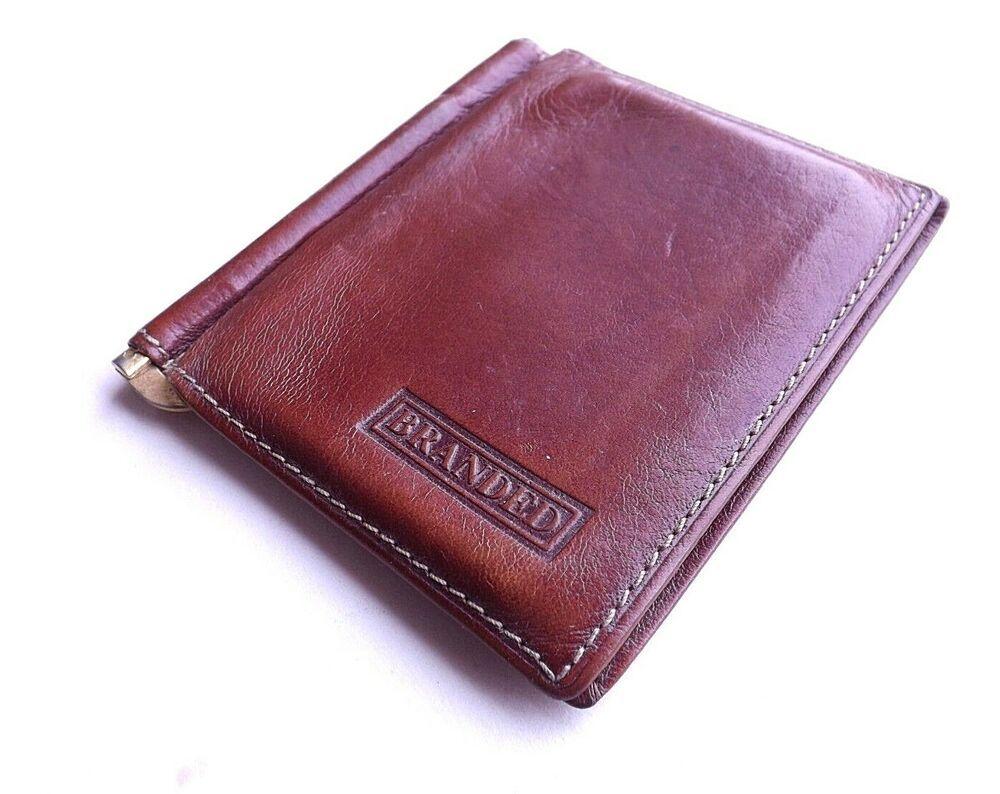Details about vintage money clip wallet card holder tan