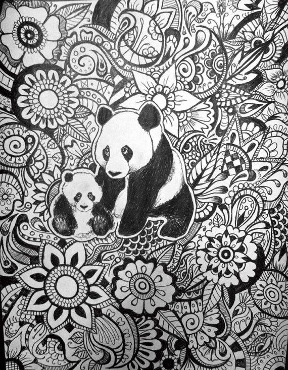 Panda Floral Design By Byjamierose On Etsy Coloring For Adults And