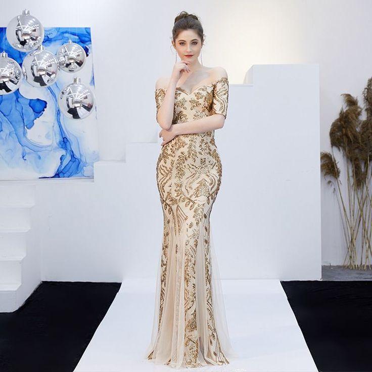 Glitzernde Champagner Abendkleider 2019 Meerjungfrau ...