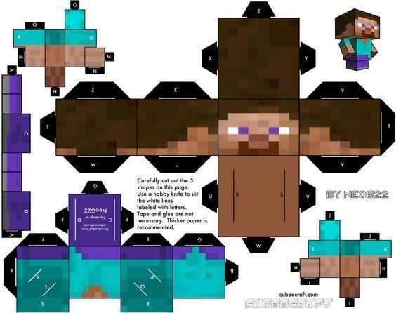 Cubeecraft Steve De Minecraft Armables De Minecraft Cubecraft Minecraft Para Armar