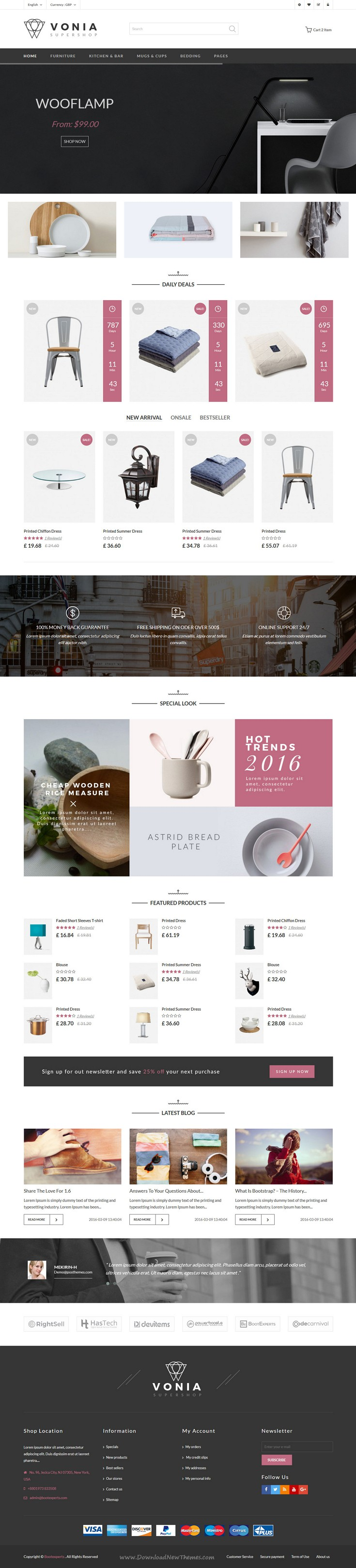Vonia - Furniture Bootstrap Template | eCommerce and Website themes