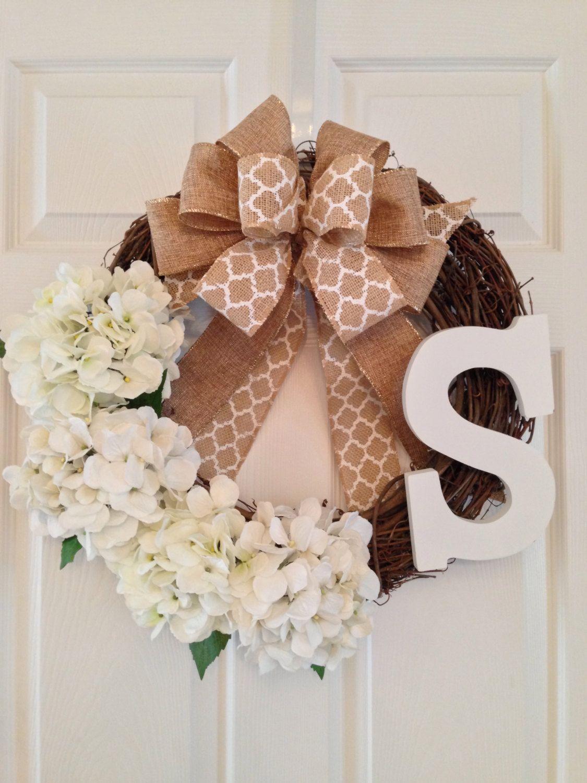 Monogram Wreath * Spring And Summer Wreath * Hydrangea Wreath * Front Door  Wreath * Grapevine
