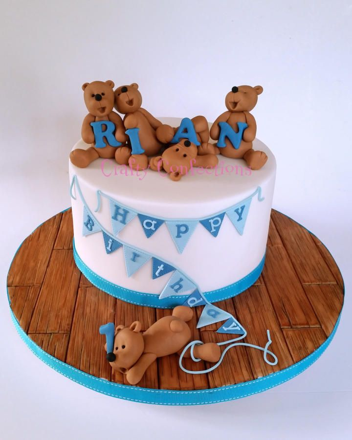 Fabulous Teddy Bears And Bunting 1St Birthday Cake Cake By Kelly Cope Birthday Cards Printable Nowaargucafe Filternl