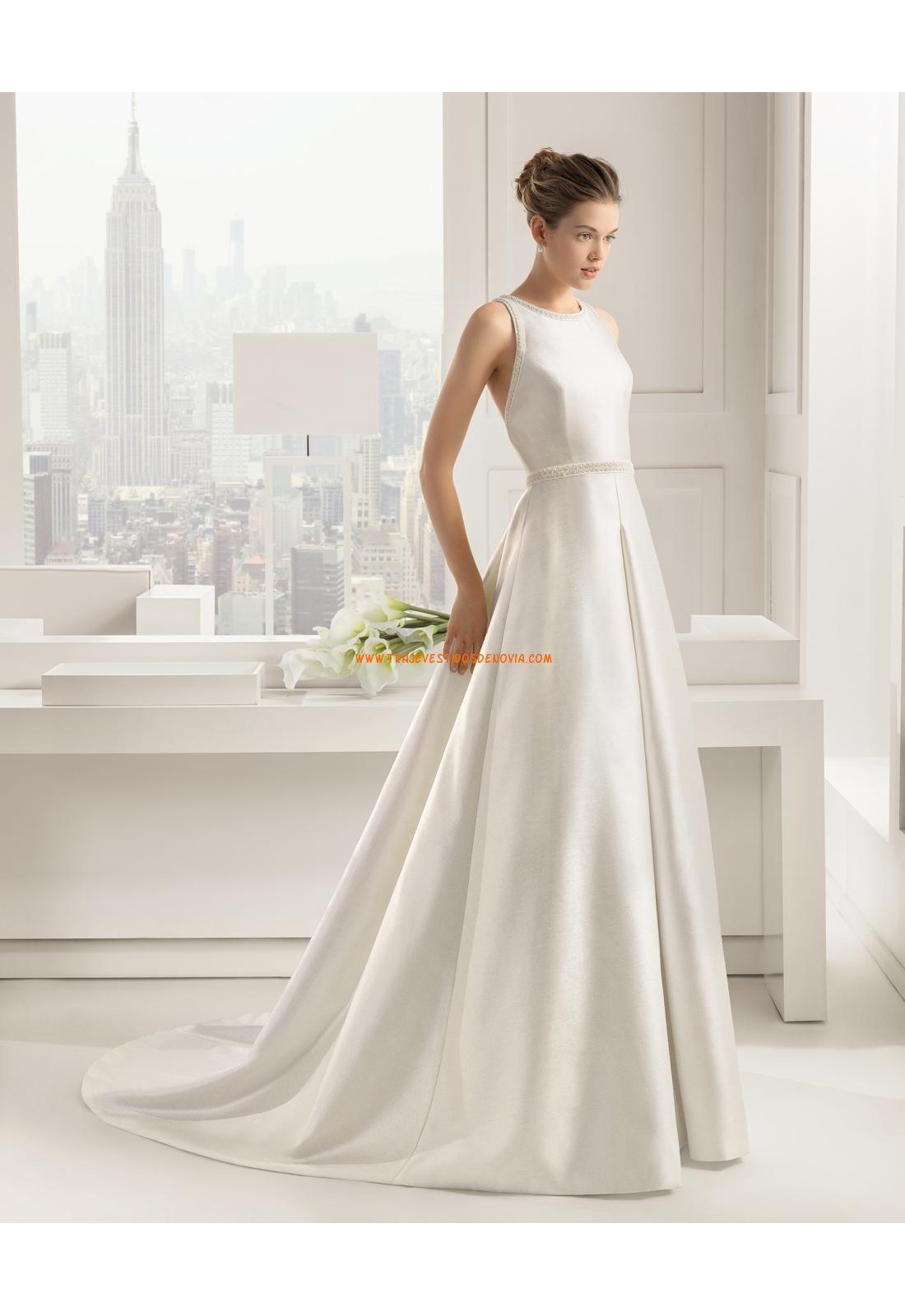 Vestidos de novia modas cross de saten y simple con cola capilla ...