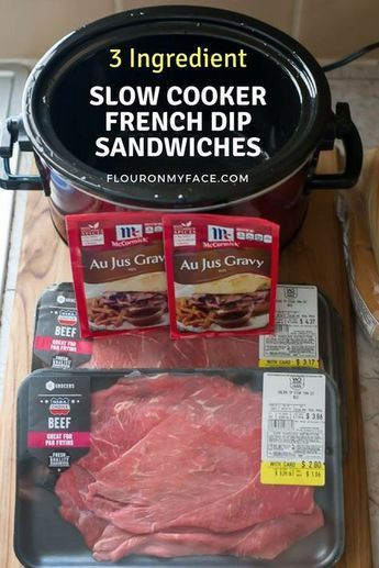 Photo of 3 Ingredient Slow Cooker French Dip Sandwich Recipe via flouronmyface.com