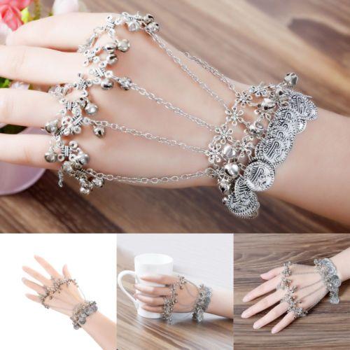 Slave Vintage Lady Belly Dance Bracelet Chain Link Finger Ring Hand Harness