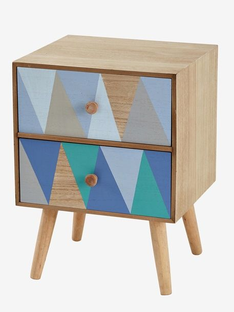 Bedside Table Diamond Shaped Theme Beige Light Solid With