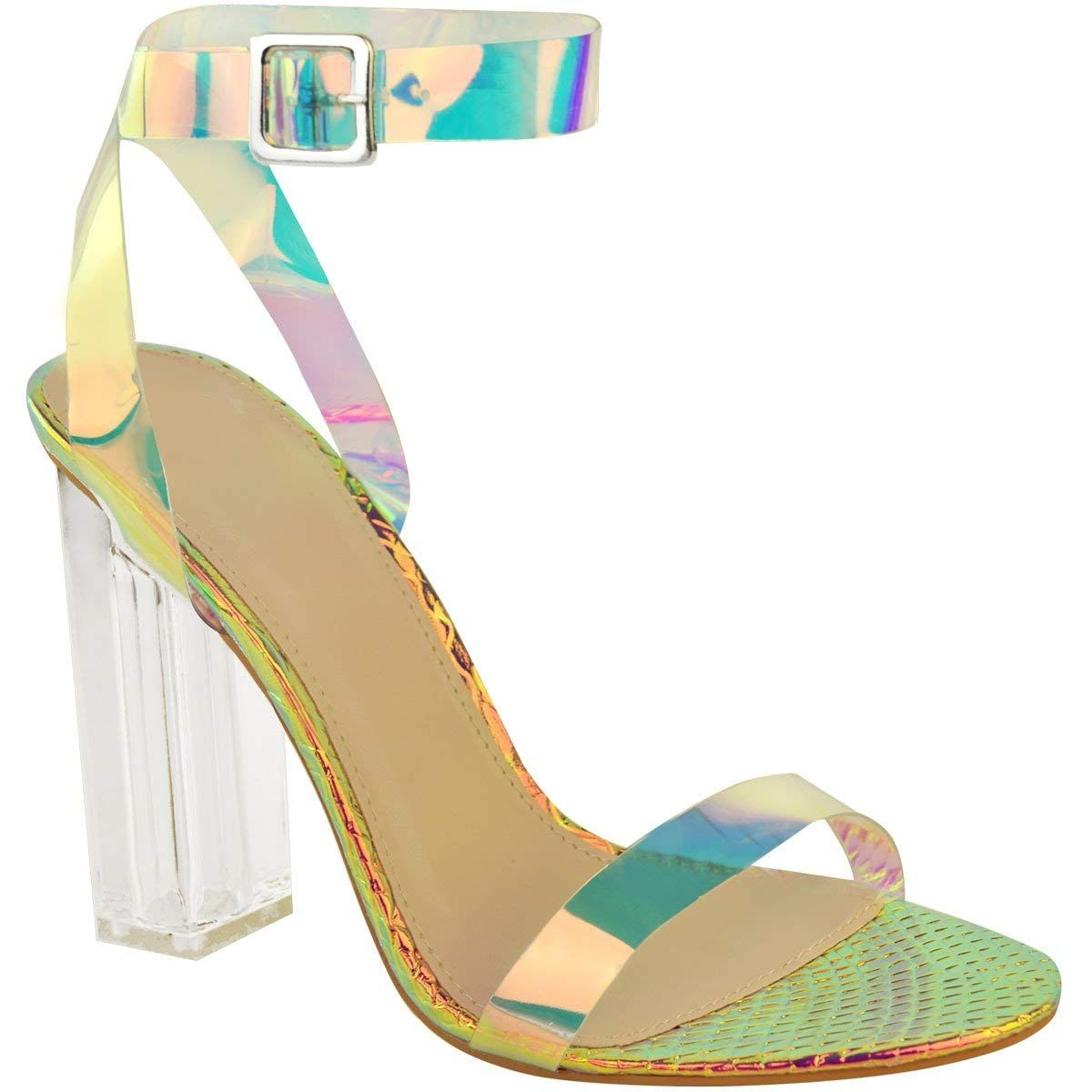 e38e0fde0eb Fashion Thirsty Womens High Heels Sandals Hologram Perspex Clear ...
