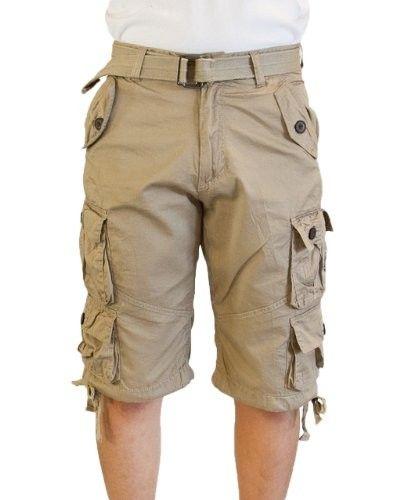 Mens Khaki Beige 8 Pocket Cargo Shorts with Belt | Men Shorts ...