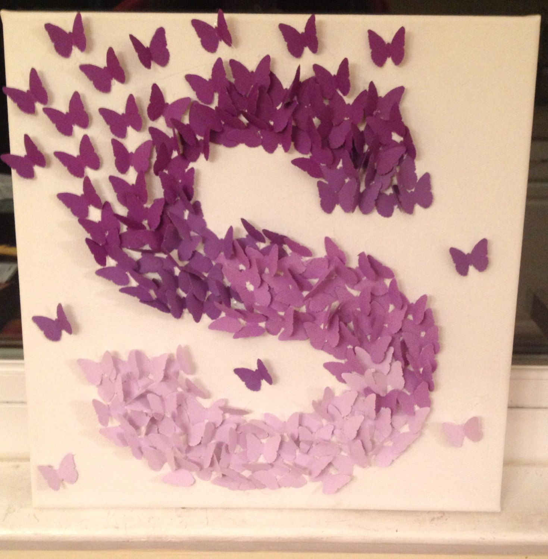 3d Butterfly Wall Art Purple Ombre Alphabet Letter S