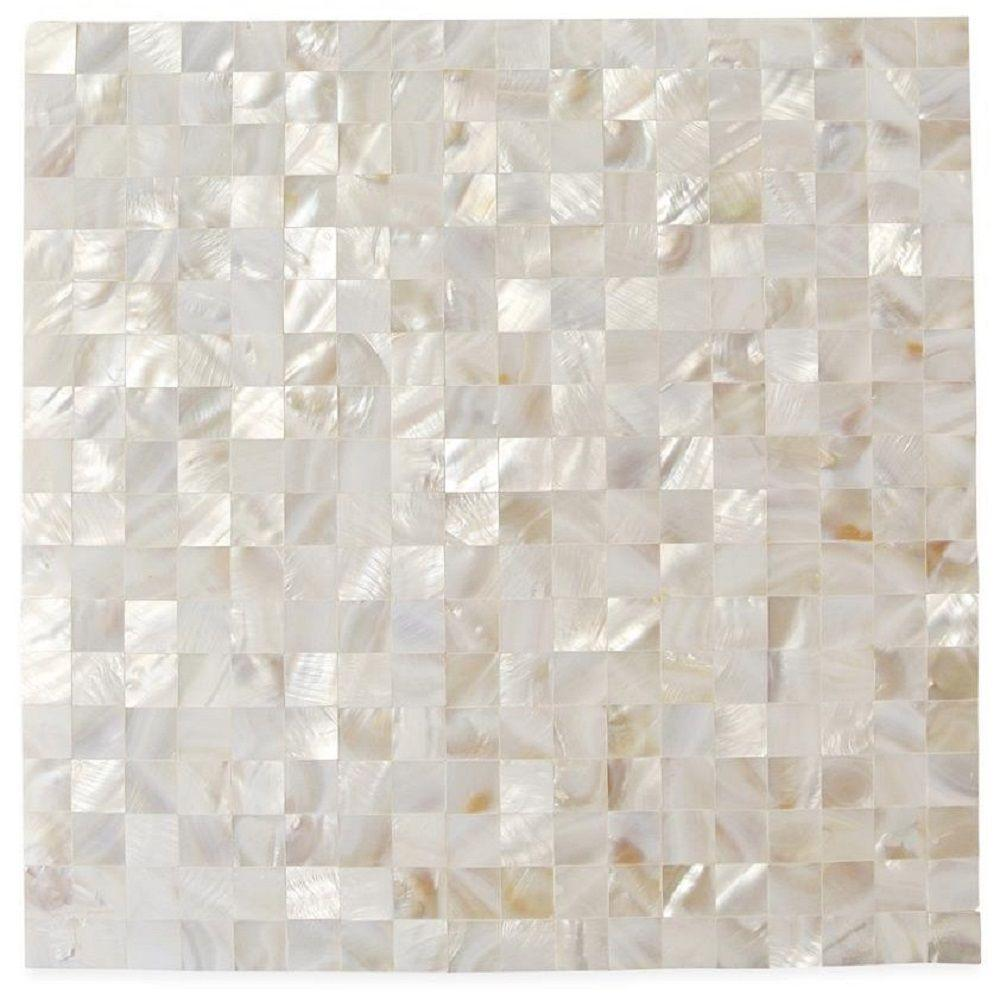 Ivy Hill Tile Mother Of Pearl Serene White Squares 12 In X 12 In X 2 Mm Seamless Pearl Shell Glass Wall Mosaic Tile Shell Mosaic Tile Shell Tiles Pearl Tile