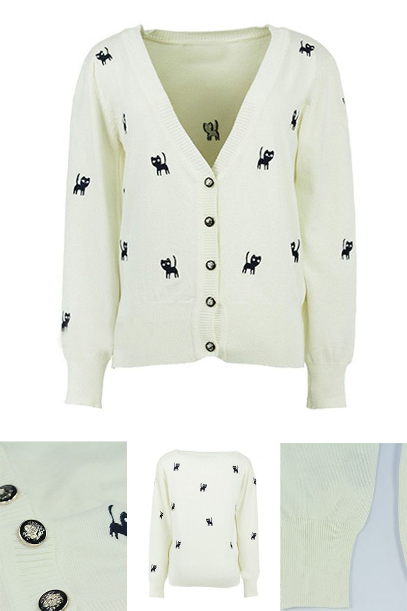 White Embroidery Cat Pattern V Neck Button Detail Cardigan-CHOIES
